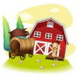 Stock Vector: A wagon and a girl in front of the barnhouse