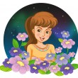 A girl surrounded by flowers — Stock Vector