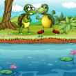 Stock Vector: Two playful turtles near pond