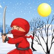 A red ninja in the snow — Stock Vector