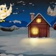 Owls appearing in the middle of the night near the wooden house — Imagen vectorial