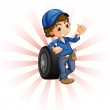 A boy in front of a wheel with a blue cap — Stock Vector