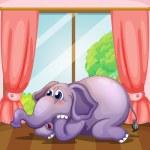 A worried face of an elephant inside the room — Stock Vector #27108467