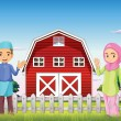A male and a female muslim in front of a barnhouse — Stock Vector