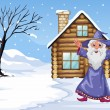 A wizard outside the house on a snowy season — Stock Vector