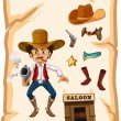 A poster with an armed old cowboy and a saloon bar — Stock Vector