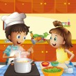 Kids cooking at the kitchen — Stock Vector