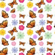 Orange butterflies with colorful flowers — Stock Vector #27108599