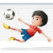 A boy playing soccer wearing a red uniform — Stock Vector