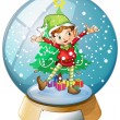 An elf in front of a christmas tree inside a snowball  — Stock Vector