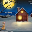 A rabbit outside the house in a moonlight scenery — Stock Vector