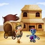 A robot and a girl near the wagon — Stock Vector