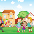 Stockvector : Children playing outside