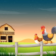 A rooster and a chicken near the barnhouse — Stock Vector