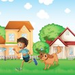 A boy playing with his dog — Stockvectorbeeld