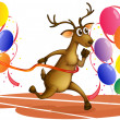 A deer running with balloons — Vector de stock