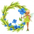 A round leafy border with a fairy holding a blue flower — Stock Vector