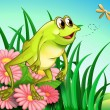 Stock Vector: A hungry frog at the garden