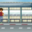 A boy at the bus stop — Stock Vector