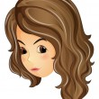 Vector de stock : Face of curly haired girl