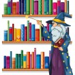 A wizard holding a wand in front of the shelves with books — Stock Vector