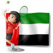 A tired athlete player in front of the UAE flag — Stock Vector