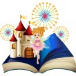 Stock Vector: Storybook with fairy, castle and fireworks