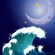 A strong wave under the moon — Stock Vector