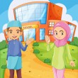 A male and a female Muslim in front of a school building — Stock Vector