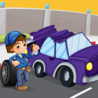 A broken violet car at the road — Stock Vector