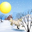 Stock Vector: A wolf in the snow