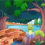 A worm reading a book near the bridge — Stock Vector