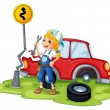 A female mechanic fixing the red broken car — Stock Vector
