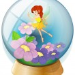 A flower fairy inside the crystal ball — Stock Vector