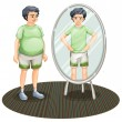 A fat man outside the mirror and a skinny man inside the mirror — Stock Vector