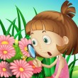 A girl using a magnifying glass at the garden  — Imagen vectorial