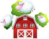 Three jumping sheeps — Stock Vector