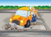 A girl repairing the damaged car at the road — Stock Vector