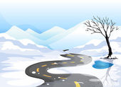 A long road at the snowy place going to the mountains — Stock Vector