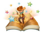 An open book with an armed cowboy — Stock Vector