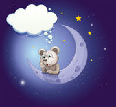 A gray bear leaning over the moon with an empty callout — Stock Vector