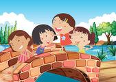 橋で遊ぶ女の子 — ストックベクタ