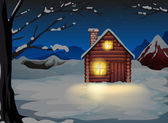 A lighted log house at the snowy land — Stock Vector