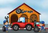 Two boys working at the garage — Stock Vector
