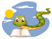 A snake reading — Vetorial Stock