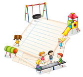 Una carta con un parco con molti ragazzi — Vettoriale Stock