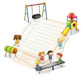 多くの子供たちと公園と紙 — ストックベクタ