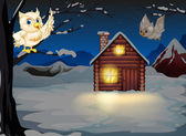 Owls appearing in the middle of the night near the wooden house — Stock Vector