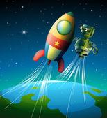 A robot beside a spaceship — Stock Vector