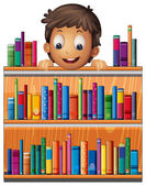 A boy at the back of a wooden shelves with books — Stock Vector